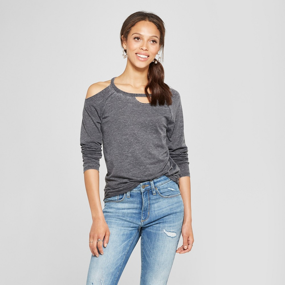Women's Long Sleeve One Cold Shoulder T-Shirt - Grayson Threads (Juniors') Charcoal S, Gray