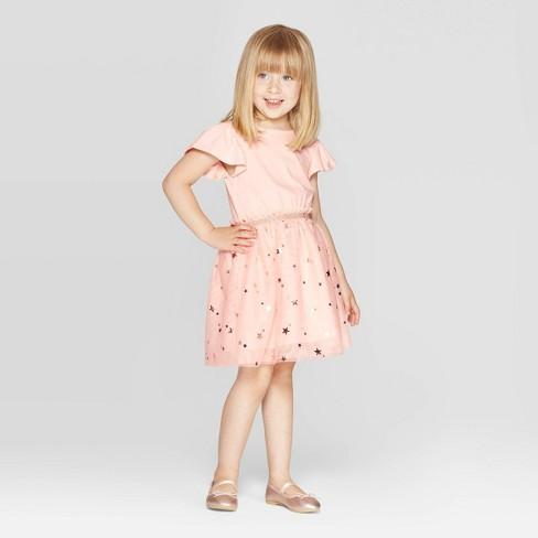 98297c359eb2b Toddler Girls' Short Sleeve Star Print Tulle Dress - Cat & Jack™ Peach