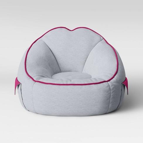 Marvelous Jersey Bean Bag Chair With Pockets Light Gray Pillowfort Machost Co Dining Chair Design Ideas Machostcouk