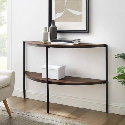 Christine Half Circle Entry Table with Lower Shelf Dark Walnut - Saracina Home
