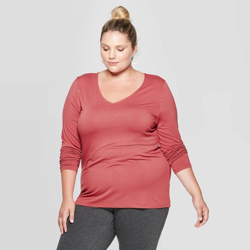 Women's Plus Size Long Sleeve V-Neck T-Shirt - Ava & Viv Mauve 1X, Pink was $12.0 now $8.4 (30.0% off)