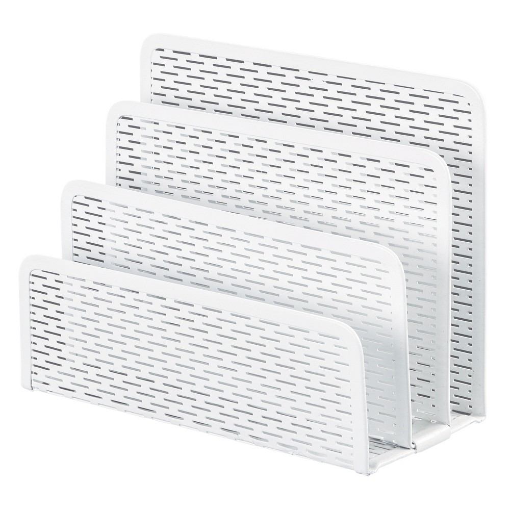 Image of Artistic Urban Collection Punched Metal Letter Sorter, 6 1/2 x 3 1/4 x 5 1/2, White