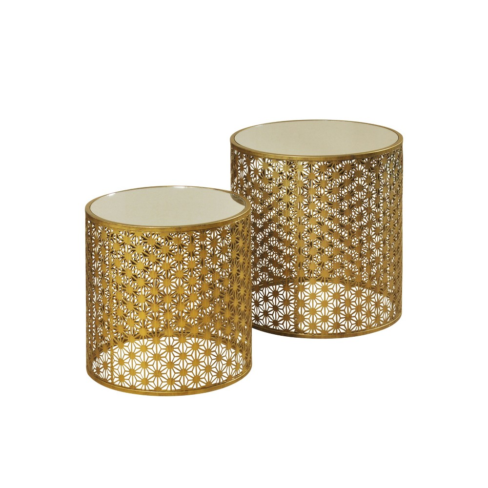 Set of 2 Nesting Tables with Mirror Tops Gold - Stylecraft