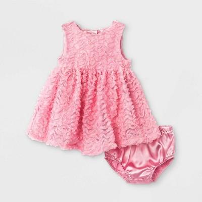Baby Girls' Rosette Dress - Cat & Jack™ Fun Pink 0-3M