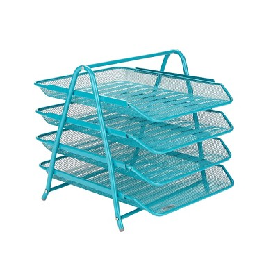 Mind Reader Desk Organizer with 4 Sliding Trays Turquoise