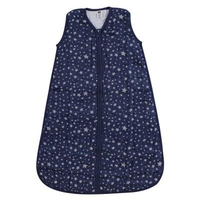 Hudson Baby Infant Muslin Cotton Sleeveless Wearable Sleeping Bag, Sack, Blanket, Gray Navy Star