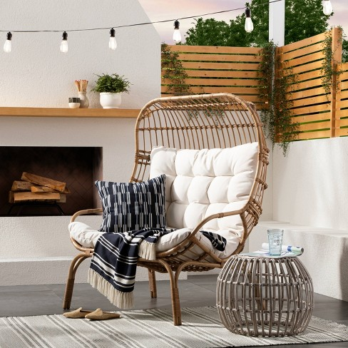 Wicker Metal Patio Egg Chair, Outdoor Chairs Target