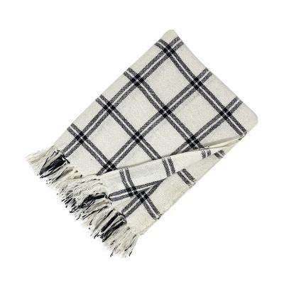 "Farmhouse Living Double Window Pane Plaid Fringe Blanket Throw - 50"" x 60""- Elrene Home Fashions"