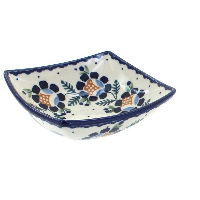 Blue Rose Polish Pottery Sunflower Small Square Bowl