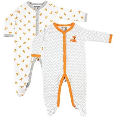 Luvable Friends Baby Boy Cotton Snap Sleep and Play 2pk, Fox