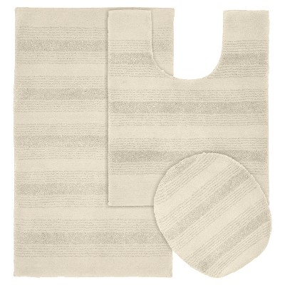 Garland 3 piece Essence Washable Nylon Bath Rug Set - Ivory