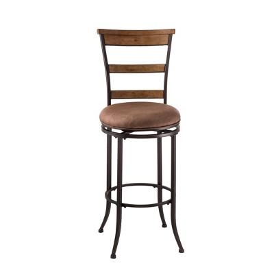 "Charleston Swivel Ladder Back 26"" Counter Height Barstool Metal/Tan - Hillsdale Furniture"