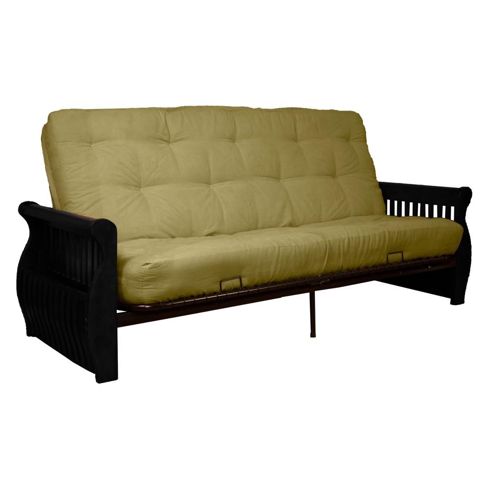 Storage Arm 8 Inner Spring Futon Sofa Sleeper - Black Wood Finish - Epic Furnishings, Green