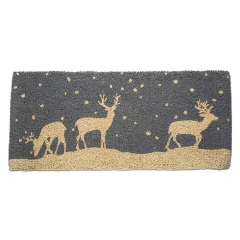 "TAG 1'6"" x 3'3"" Falling Snow Deer Reindeer Buck Lodge Cabin Christmas Doormat Xmas Holiday Estate Christmas Coir Doormat Mat - image 1 of 3"