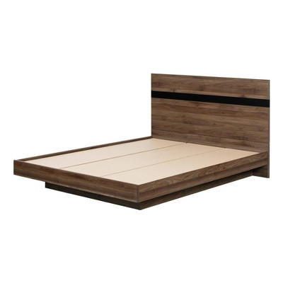 Queen Flam Complete Bed Natural Walnut/Matte Black - South Shore