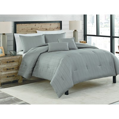 Gray Dobby Stripe Cotton Multiple Piece Comforter Set (Queen)- 5-pc