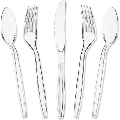 Juvale 180-Count Ultra Clear Plastic Silverware, Disposable Cutlery Utensils Set: Spoons, Forks & Knives, Heavy Duty Flatware for Parties & Events