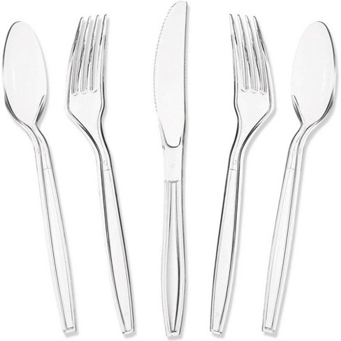 180-Count Juvale Ultra Clear Plastic Silverware, Disposable Cutlery Utensils Set: Spoons, Forks & Knives, Heavy Duty Flatware for Parties & Events - image 1 of 3