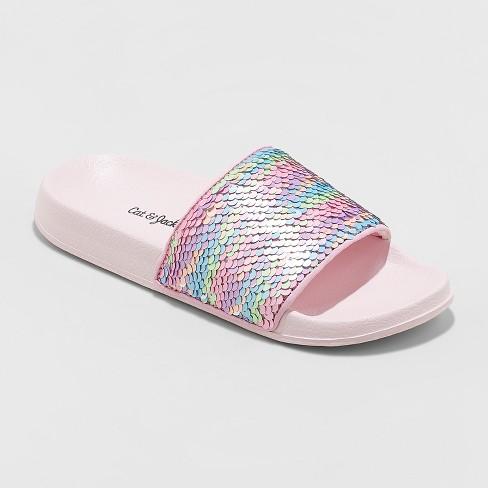 Girls' Fizz Flip Sequin Slide Sandals - Cat & Jack™ Pink - image 1 of 3