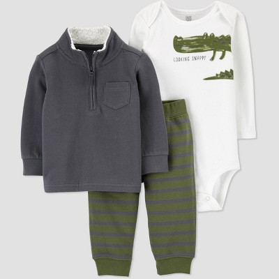 Baby Boys' Gator Mock Neck Top & Bottom Set - Just One You® made by carter's Gray Newborn