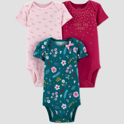 Baby Girls' 3pk Short Sleeve Floral Bodysuits - Just One You® made by carter's Newborn Dark Green