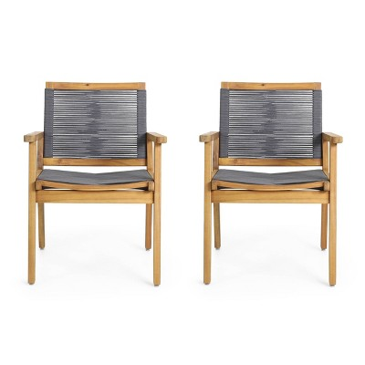 Mcgill 2pc Patio Acacia Wood Dining Chairs with Rope Seating - Teak/Dark Gray - Christopher Knight Home