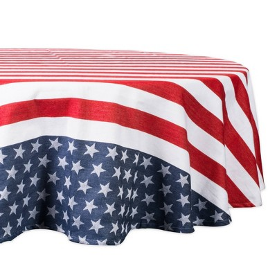 """70""""Round Stars & Stripes Tablecloth Blue/Red - Design Imports"""