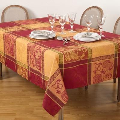 Saro Lifestyle Thanksgiving Fall Holiday Design Jacquard Cotton Blend Tablecloth