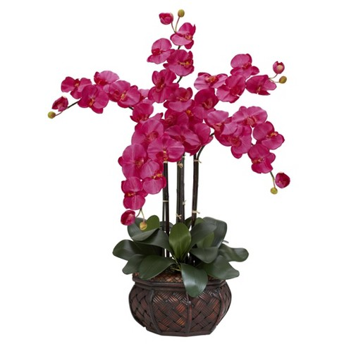 """31"""" x 28"""" Artificial Phalaenopsis Orchid Arrangement in Vase - Nearly Natural - image 1 of 1"""