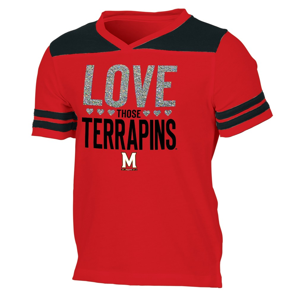 Maryland Terrapins Girls' Short Sleeve Team Love V-Neck T-Shirt XS, Multicolored