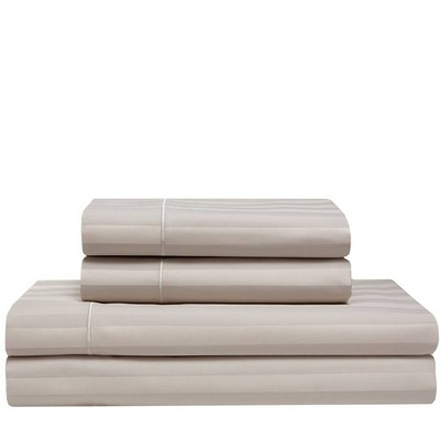 King 525 Thread Count Satin Stripe Cooling Cotton Sheet Set Cafe - Elite Home Products