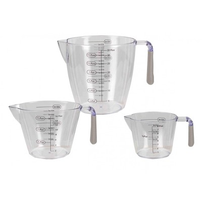 Home Basics 3 Piece Measuring Cup with Rubber Grip