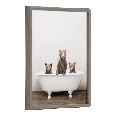 """18"""" x 24"""" Blake Three Little Bears in Vintage Bathtub by Amy Peterson Framed Printed Art Gray - Kate & Laurel All Things Decor"""