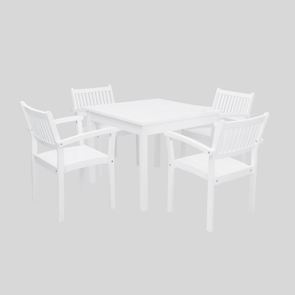 Bradley 5pc Wood Outdoor Patio Stacking Dining Set - White - Vifah