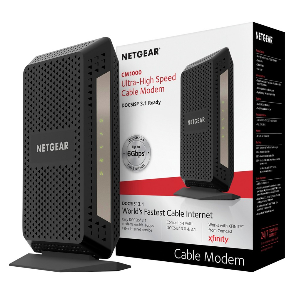 Netgear Cable Modem - Black (CM1000-100NAS) Connect this Netgear Cable Modem directly to your computer or with a compatible wireless router to connect to your other wireless devices. This modem supports speeds up to 1 Gbps and can keep up with your internet service provider's fastest available cable speeds. Stream all your TV shows and movies with the ultra fast connection. Color: Black.