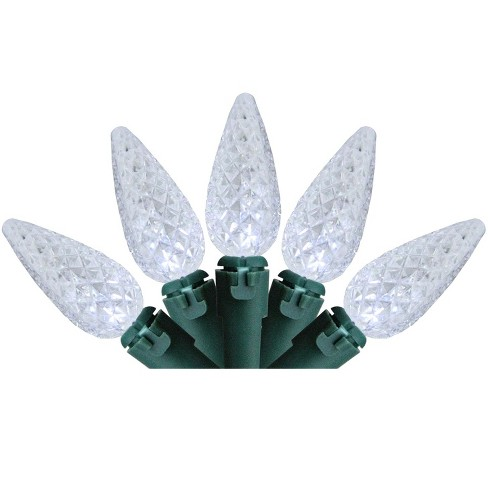 Brite Star 70ct LED Faceted C6 Christmas String Lights White - 22.6' Green Wire - image 1 of 3