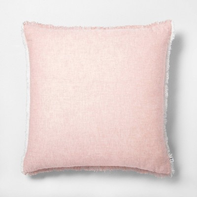 "22"" x 22"" Raw Edge Cross Dyed Throw Pillow Rose Gold - Hearth & Hand™ with Magnolia"