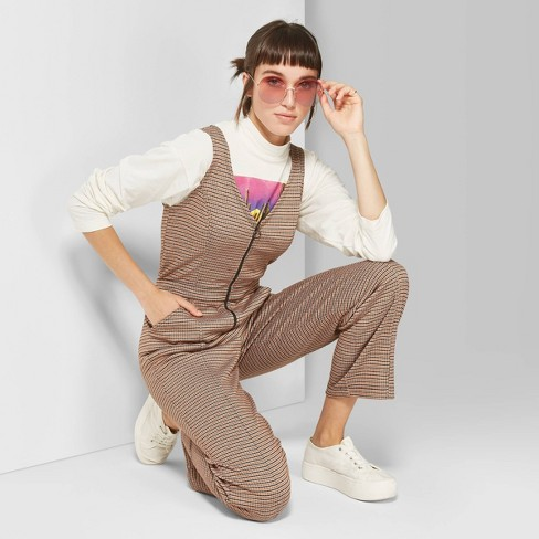 Women's Plaid Sleeveless V-Neck Zip Front Jumpsuit - Wild Fable™ Brown - image 1 of 3