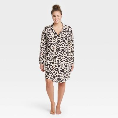 Women's Plus Size Leopard Print Beautifully Soft Notch Collar Nightgown - Stars Above™ Light Beige 1X