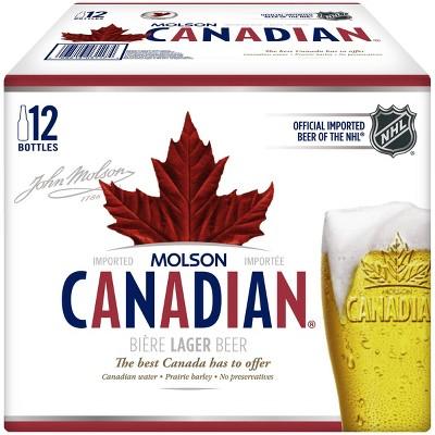 Molson Canadian Lager Beer - 12pk/12 fl oz Bottles