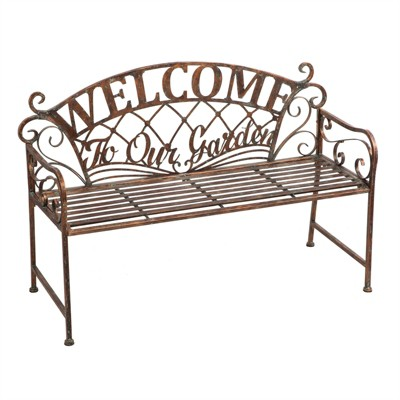 Cape Craftsmen Welcome To Our Garden Metal Garden Bench
