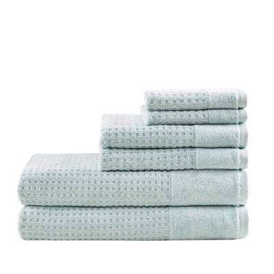 6pc Spa Waffle Jacquard Cotton Bath Towel Set Aqua
