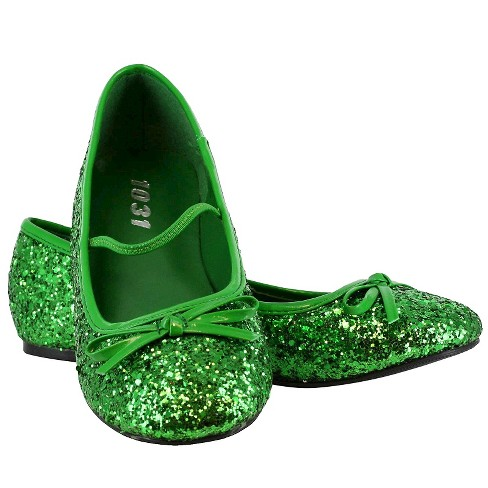a6bee0905f498 Halloween Girls' Green Sparkle Flat Shoes Costume - XL(4/5)