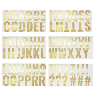 "Letter Stickers - 74-Count Gold Foil Alphabet Sticker, Self Adhesive Decorative Sticker for Kids Art & Craft, DIY, Scrapbook, 2x2.5"""