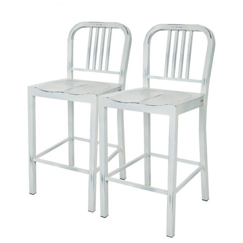 24 Quot Vintage Metal Counter Stool White Glitzhome Target
