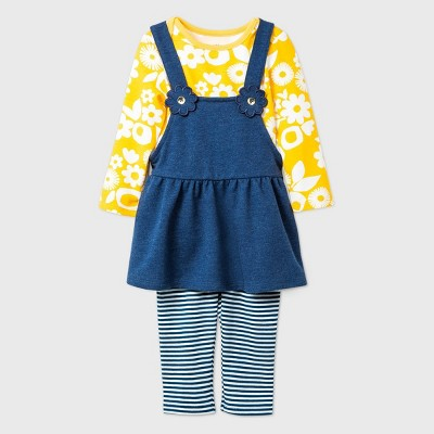Baby Girls' Knit Skirtall Top & Bottom Set - Cat & Jack™ Navy 3-6M