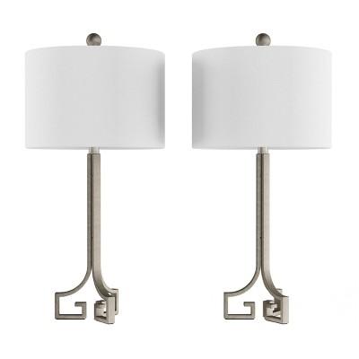 Set of 2 Greek Key Lamps Antique Silver - Trademark Gloabal