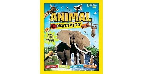 Animal Creativity Book : Cutouts, Games, Stencils, Stickers (Paperback) (Moira Butterfield) - image 1 of 1