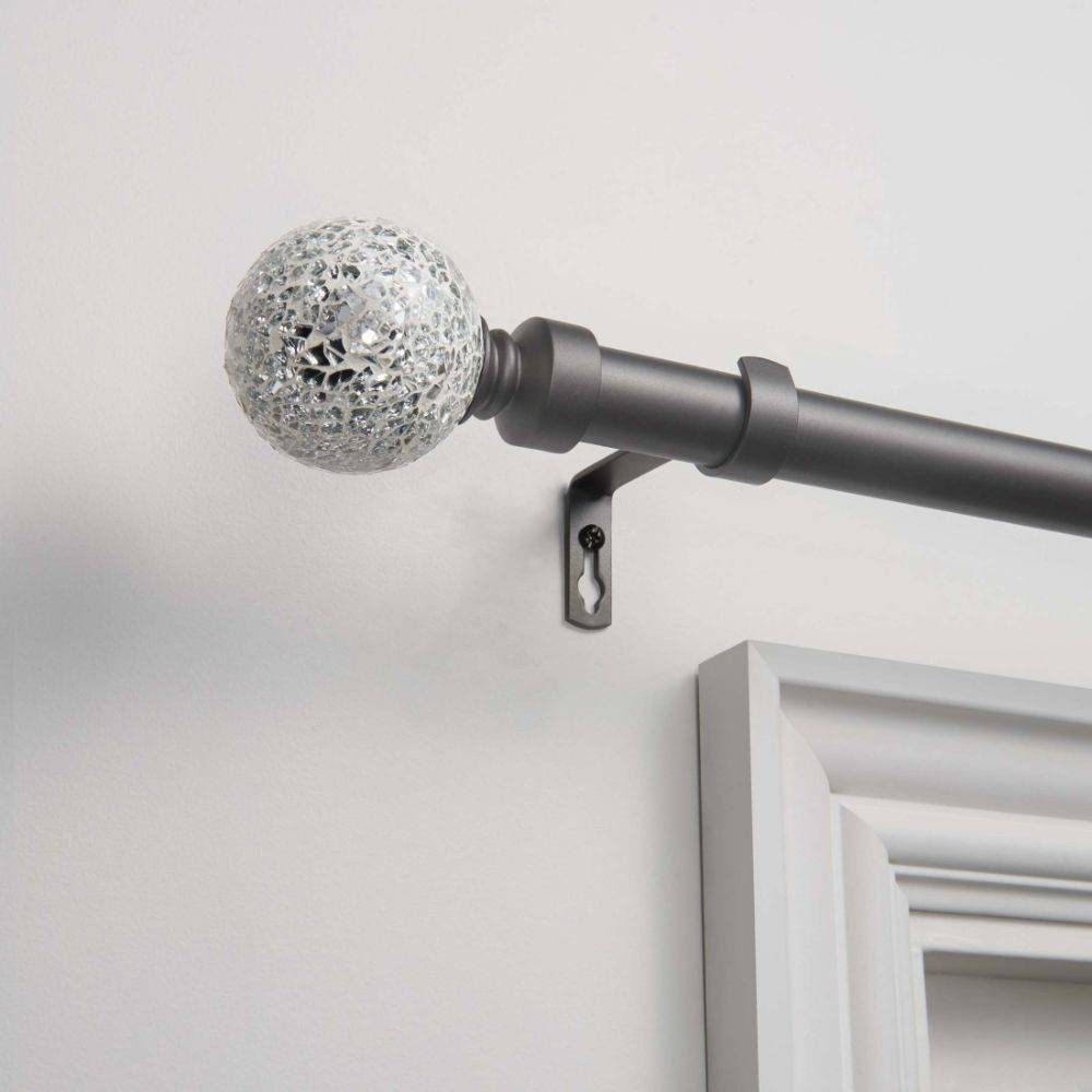 "Image of ""120""""x66"""" Adjustable Curtain Rod and Coordinating Finial Set Gunmetal - Exclusive Home, Grey"""