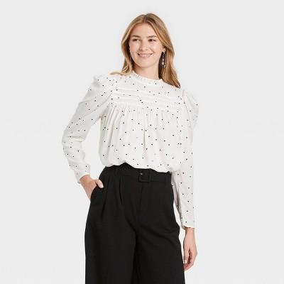 Women's Long Sleeve Pintuck Top - A New Day™
